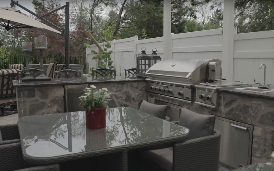 Patio furniture with barbeque