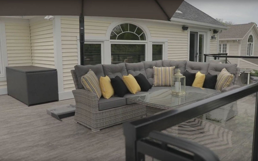 Outdoor couch on upper deck