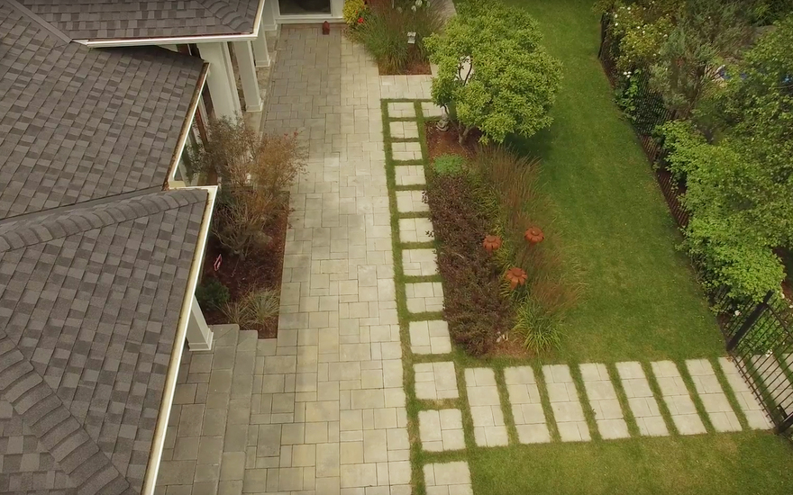 Ridge Road Estate ariel view of patio stones